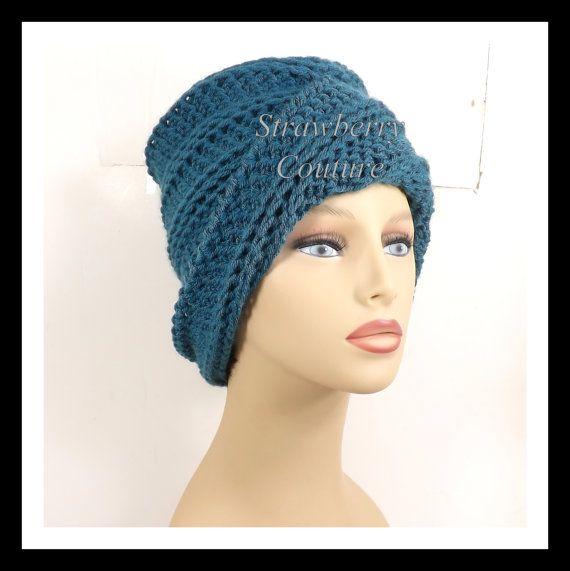 Antique Teal Blue Crochet Hat Womens Hat, Crochet Beanie Hat, Antique Teal Blue Hat, African Hat, Winter Hat, OMBRETTA Beanie Hat for Women