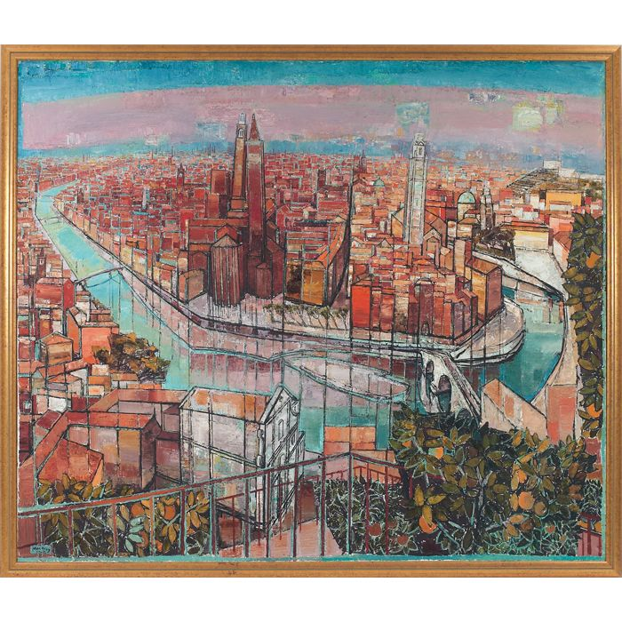 """The View of Verona,"" 1965-66, oil on canvas by Edouard-Georges Mac-Avoy (French, 1905-1991)"