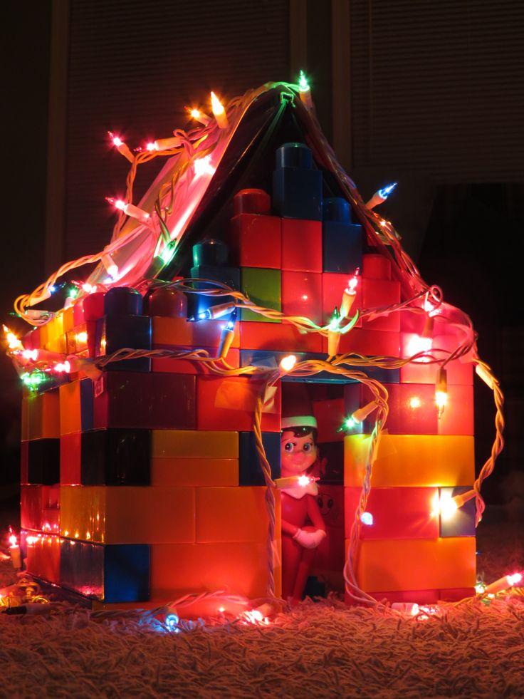 Elf on the Shelf made a Lego Christmas House.... #elfonashelf