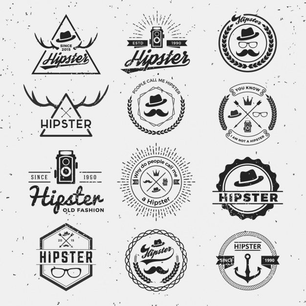 Hipster logos collection Free Vector