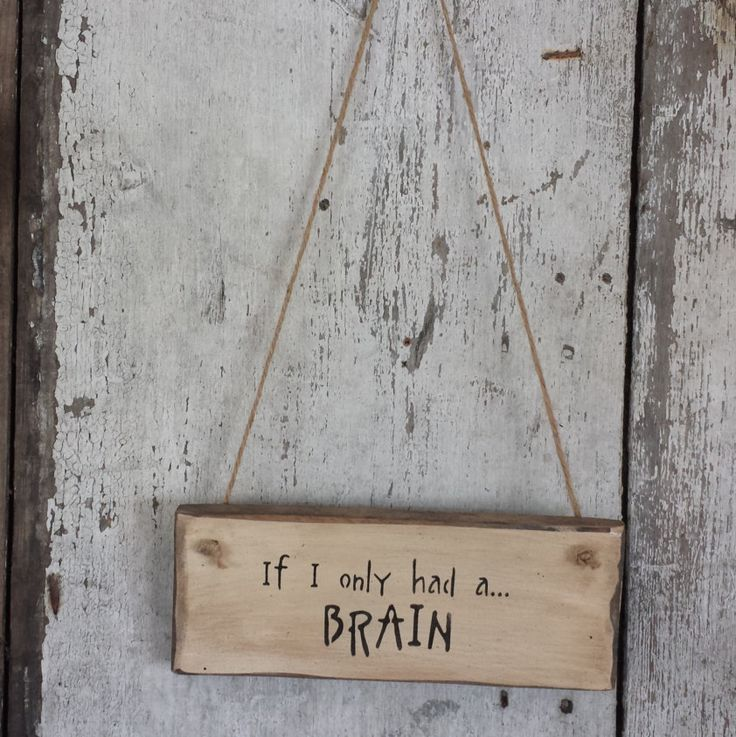 If I Only Had A Brain, Sign, Scarecrow, Primitive Fall Decor, Primitive Fall,  Country Fall Decor, Hand Painted, Barn Board by FlatHillGoods on Etsy