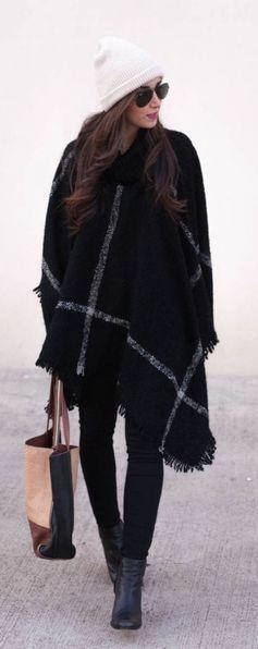 #winter #fashion / tartan + fringe