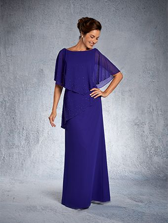 Mother of the Bride/Groom. Alfred Angelo Bridal Style 9027 from Special Occasion Dresses.The kaftan overlay on this special occasion party dress features asymmetric tiers and scattered sparkling details. The A-line skirt crafted from soft chiffon finishes the layered look.