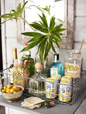 Liquor and drinks corner, preppy yet down to earth and oh so handy for the hostess!