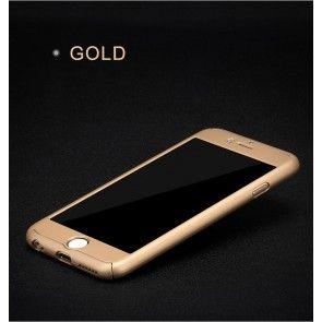 Carcasa Iphone 7 Plus, Protectie spate si laterale, Ultraslim, Plastic + Sticla Temperata, Culoare Gold