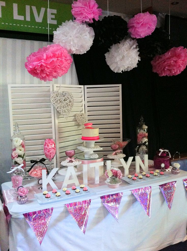 Pink Black And White 21st Candy Buffet Lolly Buffet By & 21st Birthday Table Decoration Ideas - Elitflat