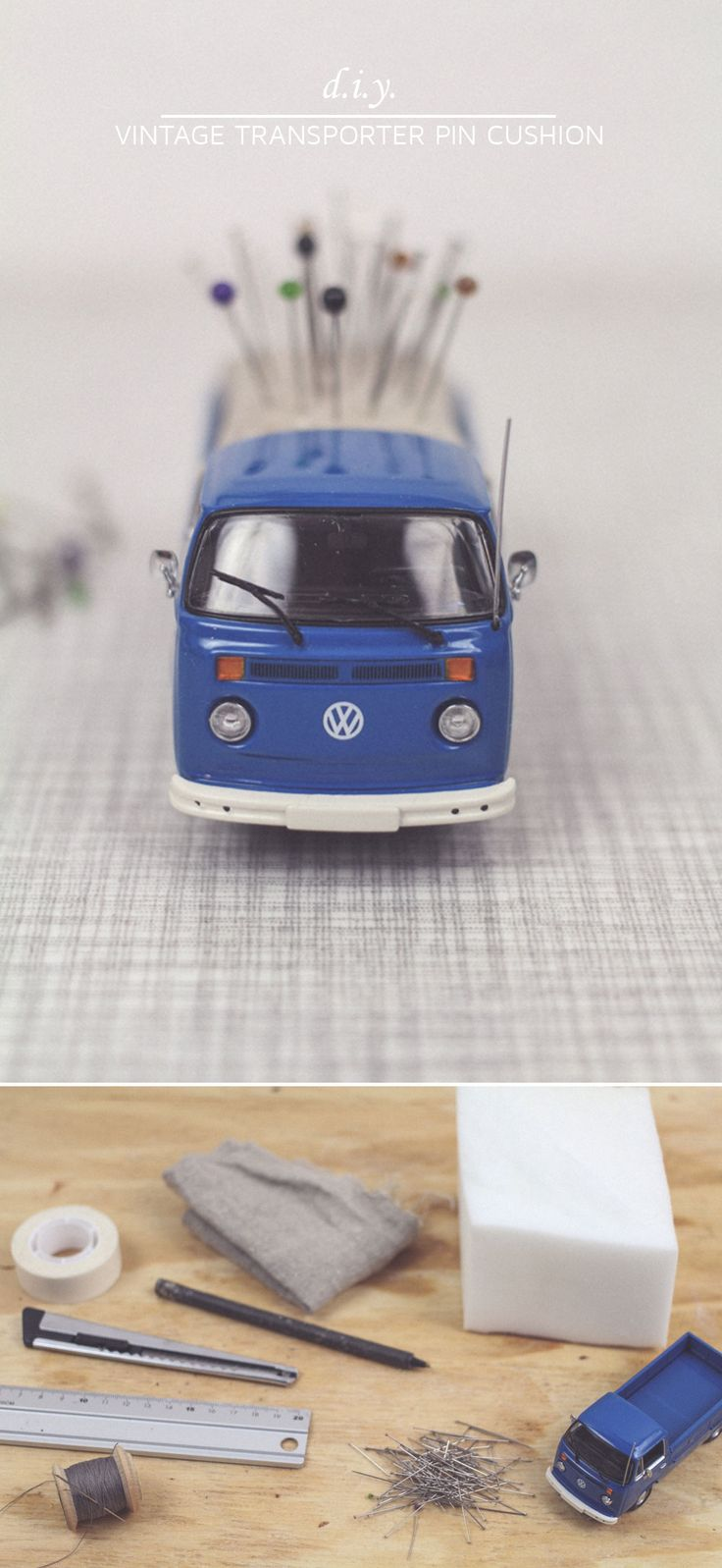 "You can easily create this Volkswagen transporter pin cushion by following the step by step tutorial. If you're looking for more inspiring, exceptional and fun DIY tutorials, make sure to visit the collaborative board ""DIY bloggers for Volkswagen"": http://www.pinterest.com/volkswagen/diy-bloggers-for-volkswagen"