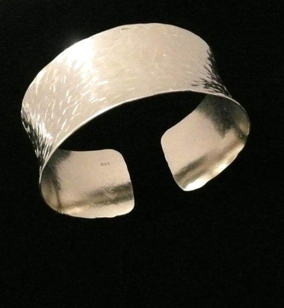 Hand Hammered Sterling Silver Cuff Bracelet ModernMetal