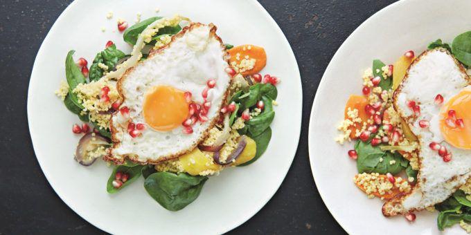 I Quit Sugar: Millet, Roast Veggies, Pietro's Egg + Pomegrante