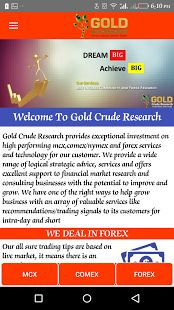https://play.google.com/store/apps/details?id=com.gold.pnp.goldcrudresearch&hl=en  Gold Crude Research - play store  Gold Crude Research provides exceptional investment on high performing mcx,comex/nymex and forex services and technology for our ...