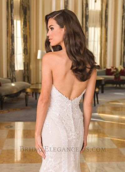 Sequined Chevron Floral Lace Wedding Gown | Bridal Elegance