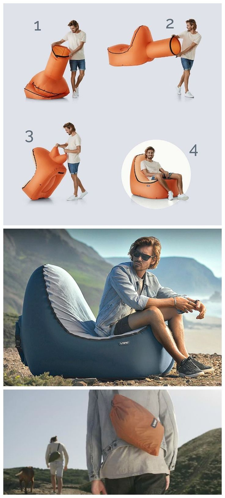 TRONO Inflatable Lounge Chair with back support. Don't settle for laying on a hammock lounger. Hangout on an easy-inflate, comfy, compact, lightweight and durable outdoor sofa couch instead!