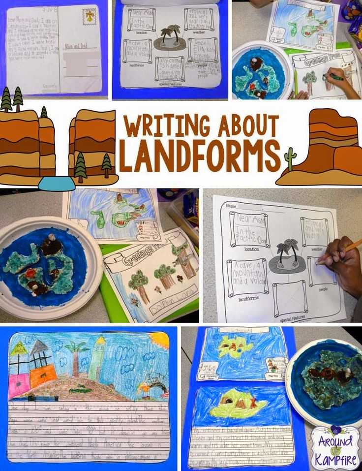 Learning About Landforms: We incorporated map skills, post card writing, and creative personal narratives about our islands during our landforms unit!