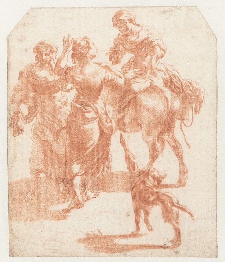 Nicolaes Pietersz. Berchem   Twee lopende vrouwen en een vrouw op een ezel, Nicolaes Pietersz. Berchem, 1630 - 1683   Twee vrouwen spreken een derde aan die op een ezel zit, naast hen loopt een hond.