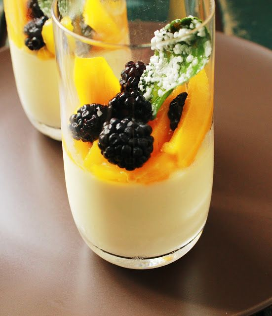Refreshing and summery Kaffir Lime Panna Cotta with Mango and blackberries.