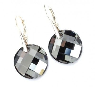 Srebrne Kolczyki Swarovski Twist Silver Night. Srebro p.925 #earrings #kolczyki #Swarovski