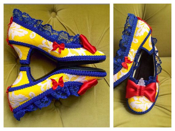 Snow White Costume Shoes High Heels Cosplay Party Fantasy Pumps Yellow Royal Blue Apple Red Fairytale Princess Wedding Lace Ruffle Size 7