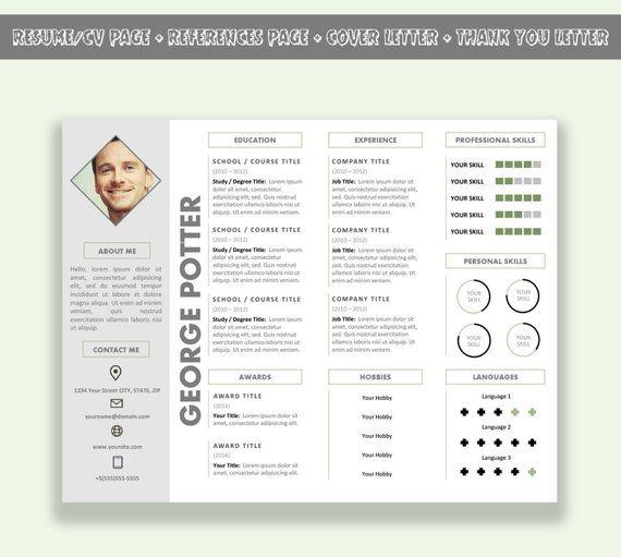 Microsoft Word Horizontal Resume Template Cv Template Pack Etsy Modele Cv Modele De Cv Moderne Cv Lettre De Motivation