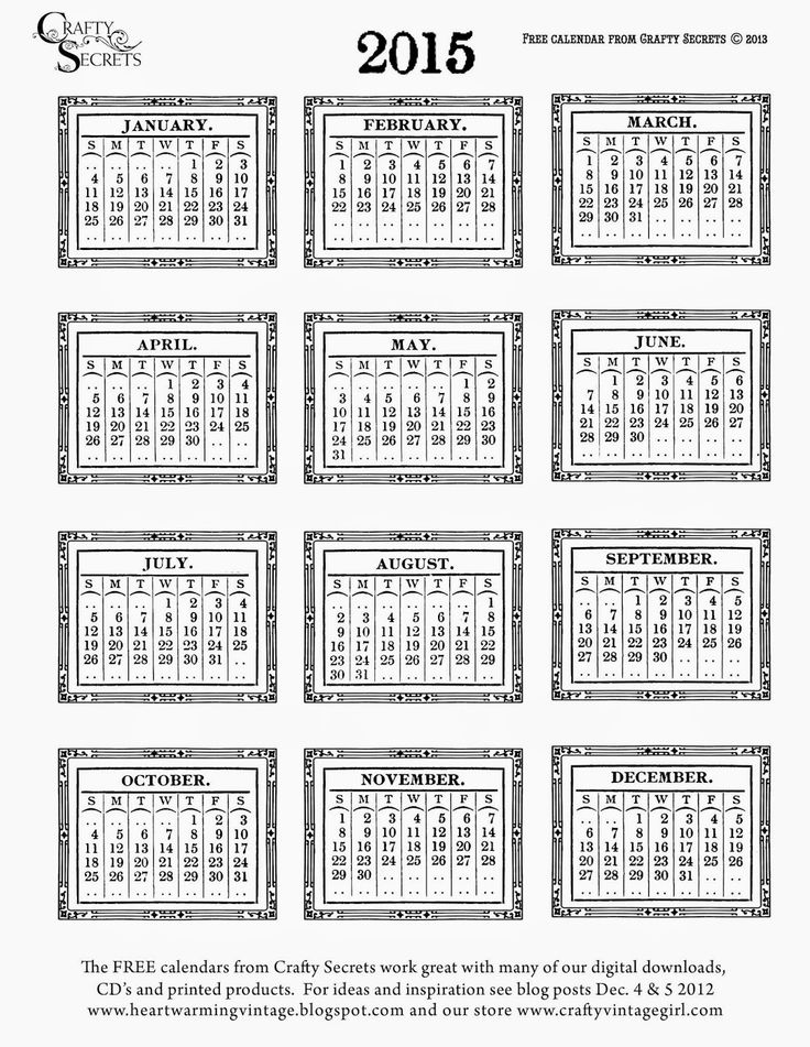 Crafty Secrets Heartwarming Vintage Ideas and Tips: Our 2015 Free Printable Vintage Calendars and Craft Hoarders DT Samples and Challenge!