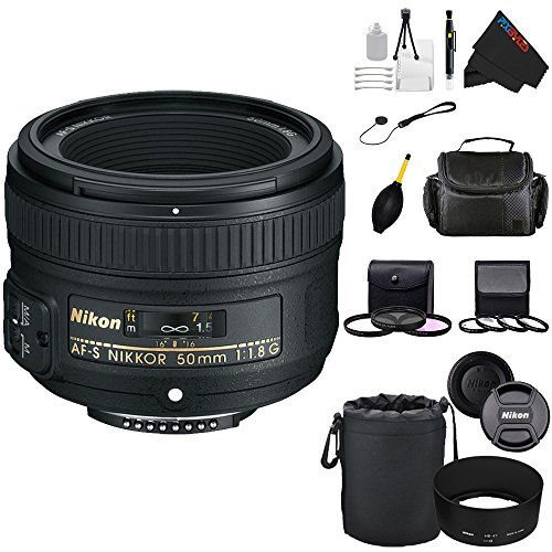"Nikon 50mm f/1.8G AF-S NIKKOR FX Lens for Nikon Digital SLR Cameras + Pixi-Advanced Accessory Bundle   Nikon 50mm f/1.8G AF-S NIKKOR FX Lens for Nikon Digital SLR Cameras + Pixi-Advanced Accessory Bundle Nikon's AF-S Nikkor 50mm f/1.8G Lens is an attractive alternative to the classic 50mm f/1.4 ""normal"" lens for everyday shooting with an FX or 35mm camera. The 50mm f/1.8 is nearly as ""fast"" as the f/1.4 (just 2/3 stops difference), and provides reduced lens flare and ghosting (plus s.."