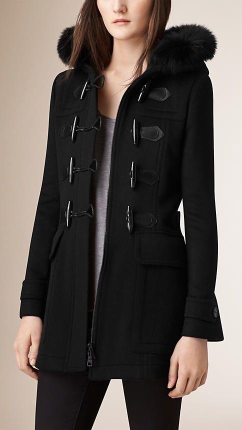 Noir Duffle-coat en laine avec bordure en fourrure amovible - Image 2