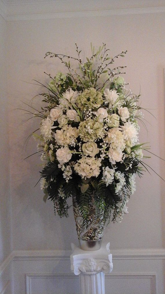 Xl Fl Arrangement Tall Centerpiece Shipping Included Custom Made Elegant Large Silk Table Foyer Home Arrangements