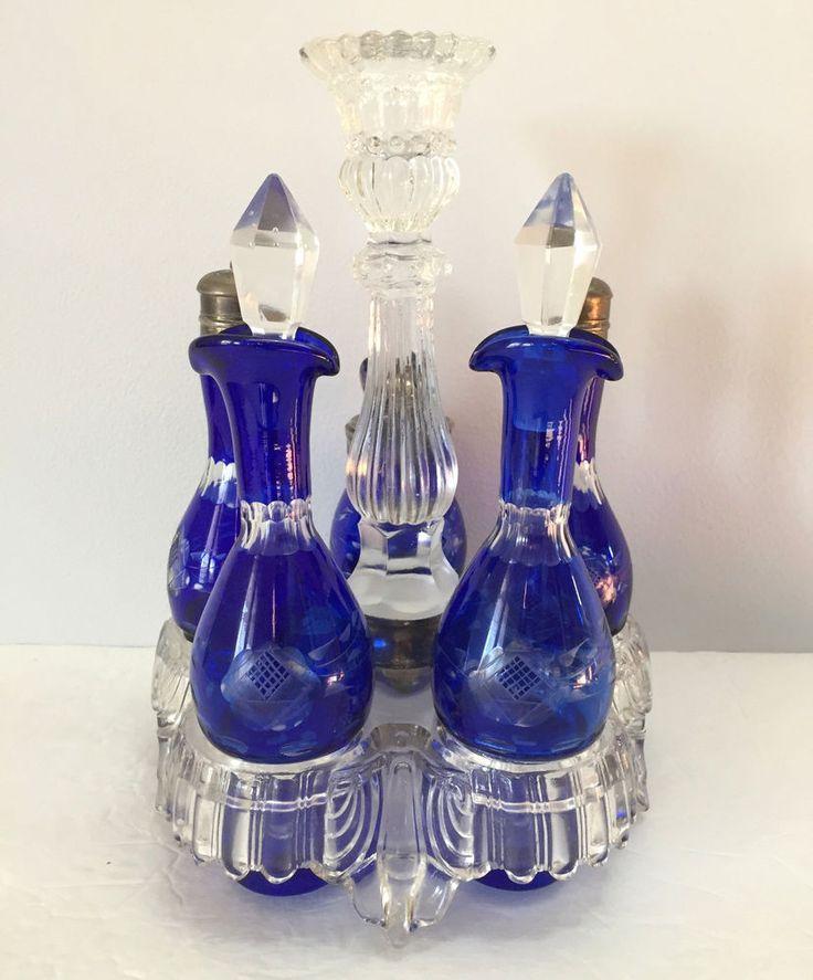 Rare Antique Bohemian Cut to Clear Cobalt Blue Glass Cruet Shaker Condiment Set    eBay