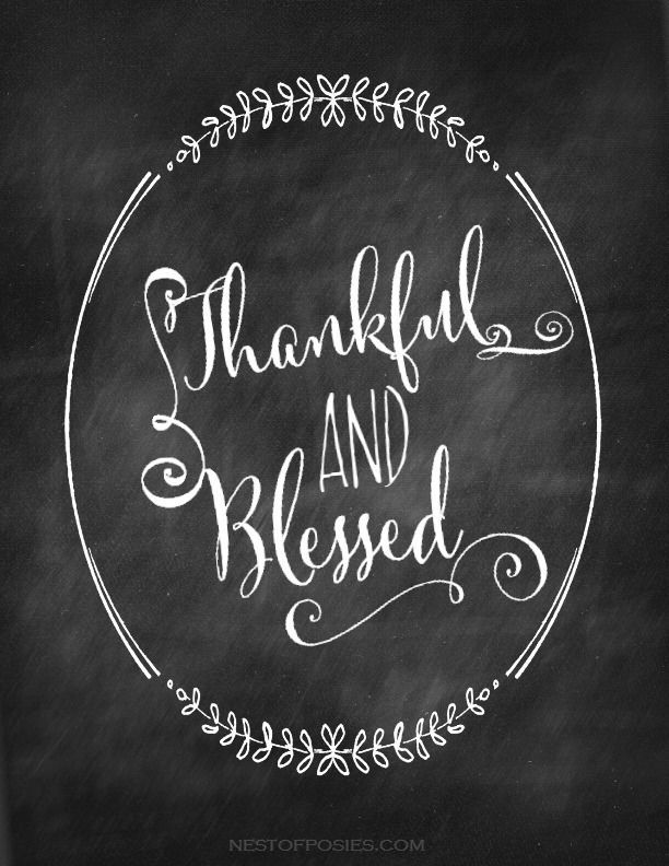 thankful and blessed chalkboard printable