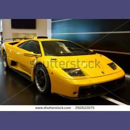 BOLOGNA AIRPORT  - ITALY on 9th of MAY world famouse Lamborghini posh  car at airport of Bologna, 9th of May 2015 - Shutterstock