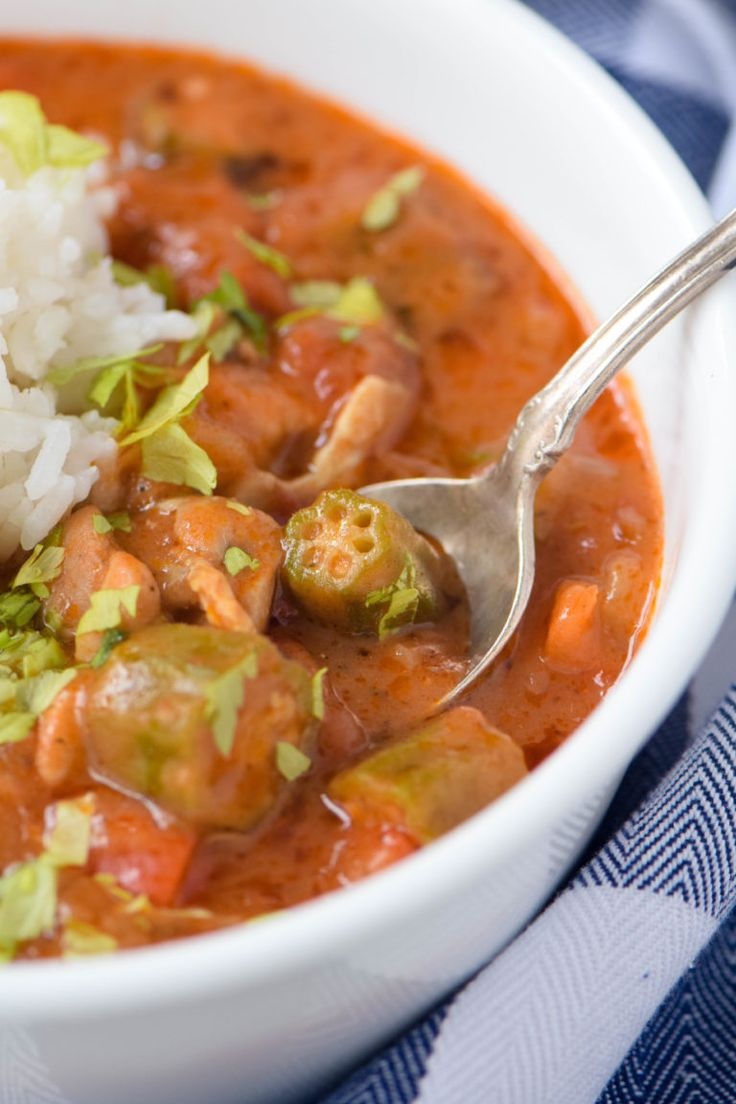 Chicken gumbo with okra. An authentic version of the Cajun classic made without pork or shellfish so everyone can enjoy. Perfect for Mardi Gras and Fat Tuesday celebrations.
