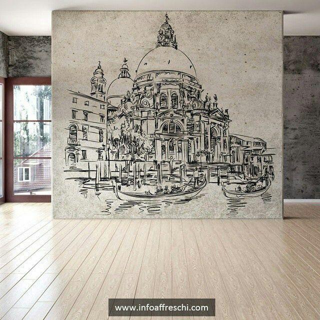 Отличное сочетание бетонной поверхности с элегантной графикой!