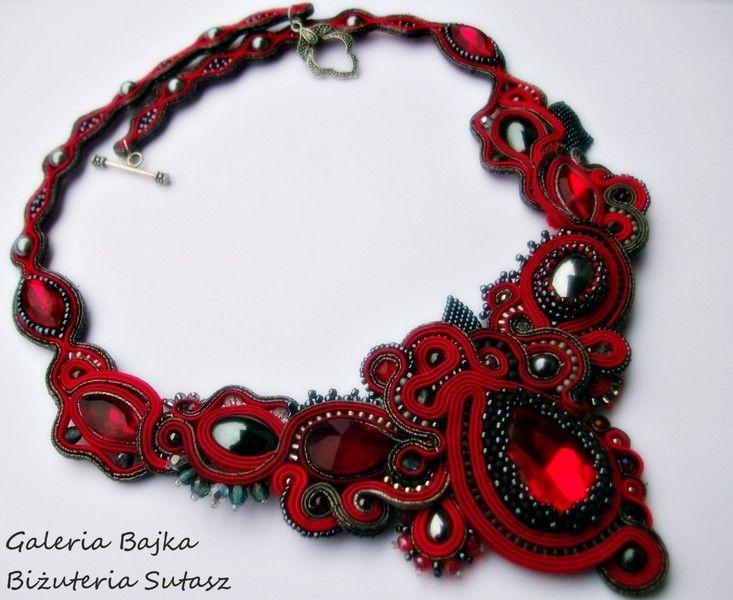 """Naszyjnik/kolia sutasz (soutache) """"Flames of love"""" w Galeria Bajka Soutache Jewelry na DaWanda.com"""