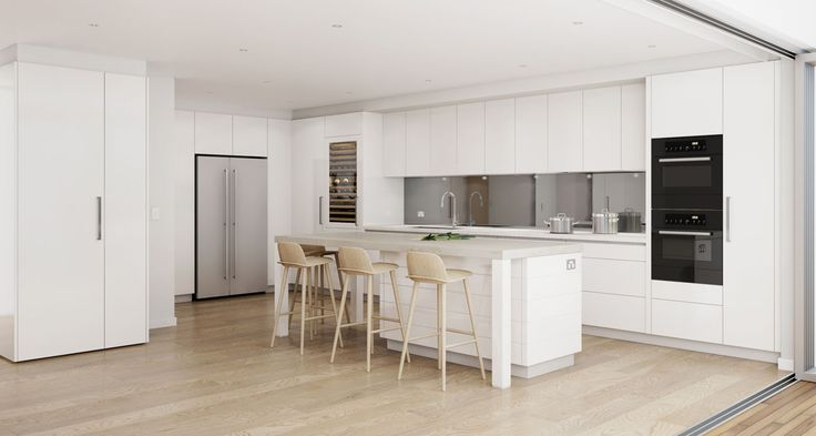Light toned kitchen design for a duluxe beachside apartment. Coogee, NSW #DanKitchensAus