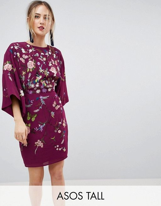 fbe4170846d3d TALL Kimono Mini Dress with Embroidery | Fashion things | Short ...