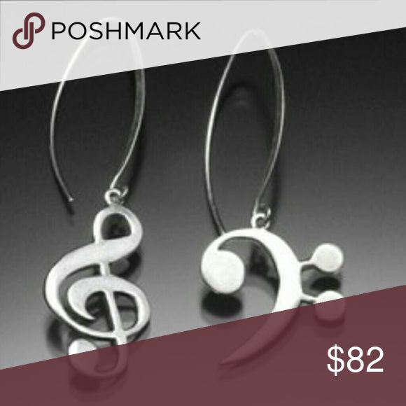 Sterling Silver Treble Bass Clef Earrings Hello Posh Community! These are beautiful Sterling Silver Treble Bass Clef Earrings. A message about the piece from silversmith, Chester Allen:   To be clear Melody Treble and Rob Bass had a Life, separate and a part... Harmony melody point counter point right left treble and bass is about the contrast and the balance. This earring comes as a post.  Thanks for looking. Handmade by Chester Allen Jewelry