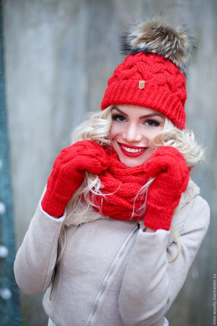 Купить Комплект Classik - ярко-красный, однотонный, комплект, шарф, шапки вязаные, снуд вязаный