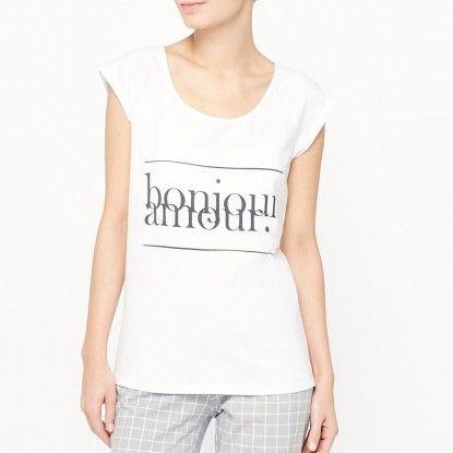 Dámské bavlněné pyžamo - top a dlouhé kalhoty R EDITION        - bílá-šedá