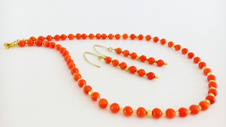 Beautiful Coral Necklace  earrings set. NATURAL coral beads color orange.  Swarovski Crystal and Gold filled elements. by GECHELINE on Etsy