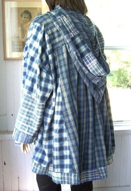 upcycled men's shirts hoodie.