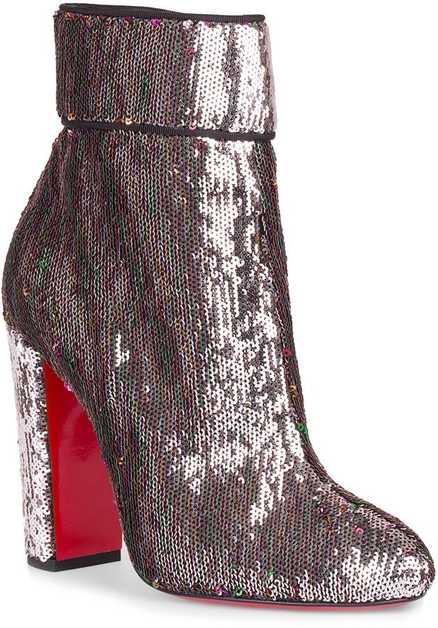 cbcf8f95f214 Moulamax 100 silver sequin bootie   EXOTIC Wearables   Red louboutin ...