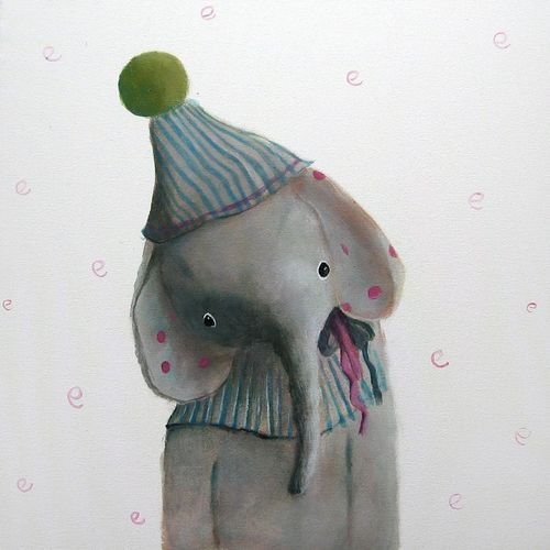 By Polish artist  Amelia Haniszewska-Jastrz?bska,: Elephants, Elephant Art, Elephant Paintings, Boy Nursery Art, Boys Nursery, Blue Nursery, Baby Boy Nurseries