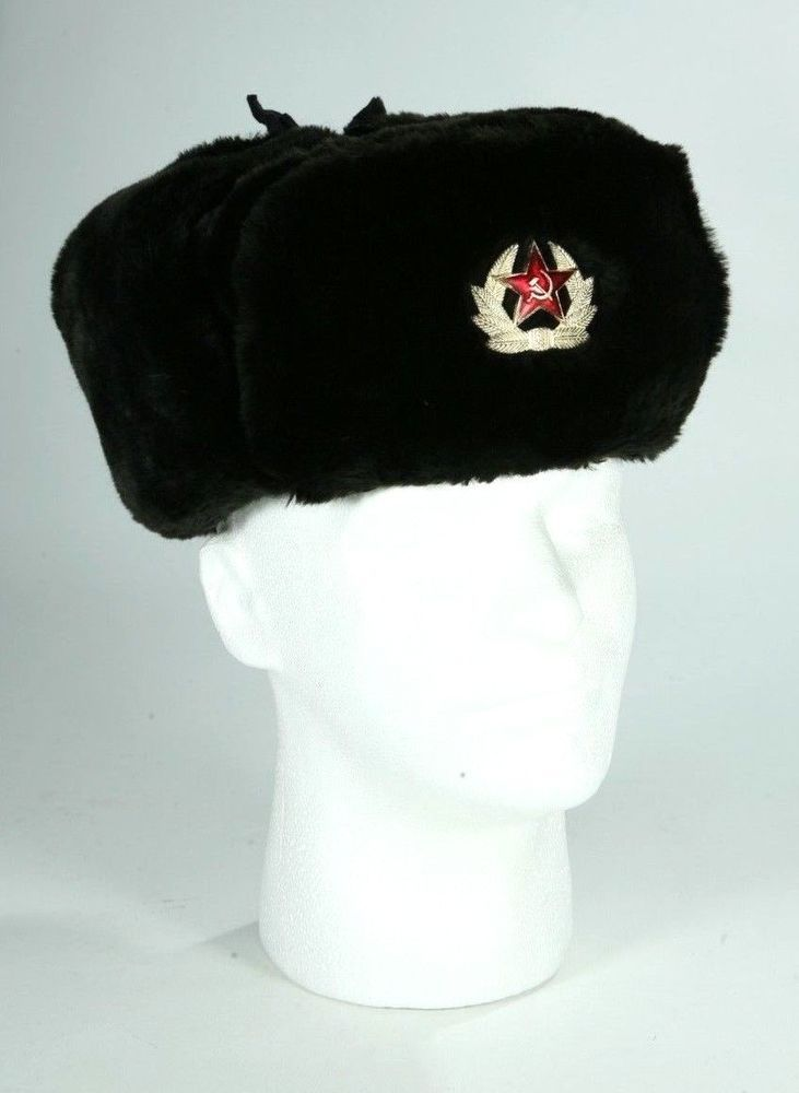 e4a77755a788e Vintage Hat Russian Soviet Army KGB Black Fur Military Cossack Ushanka Size  M