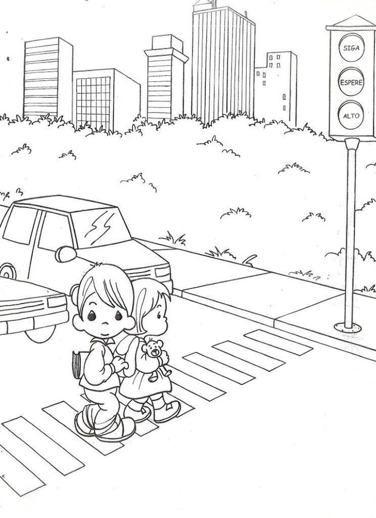 Child Coloring: Drawing precious moments with traffic light coloring