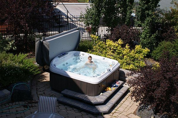 41 best hot tub covers lifts and steps images on. Black Bedroom Furniture Sets. Home Design Ideas