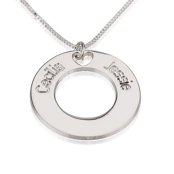 31 best circle name necklace images on pinterest name necklace love two sterling silver personalized engraved necklace aloadofball Choice Image
