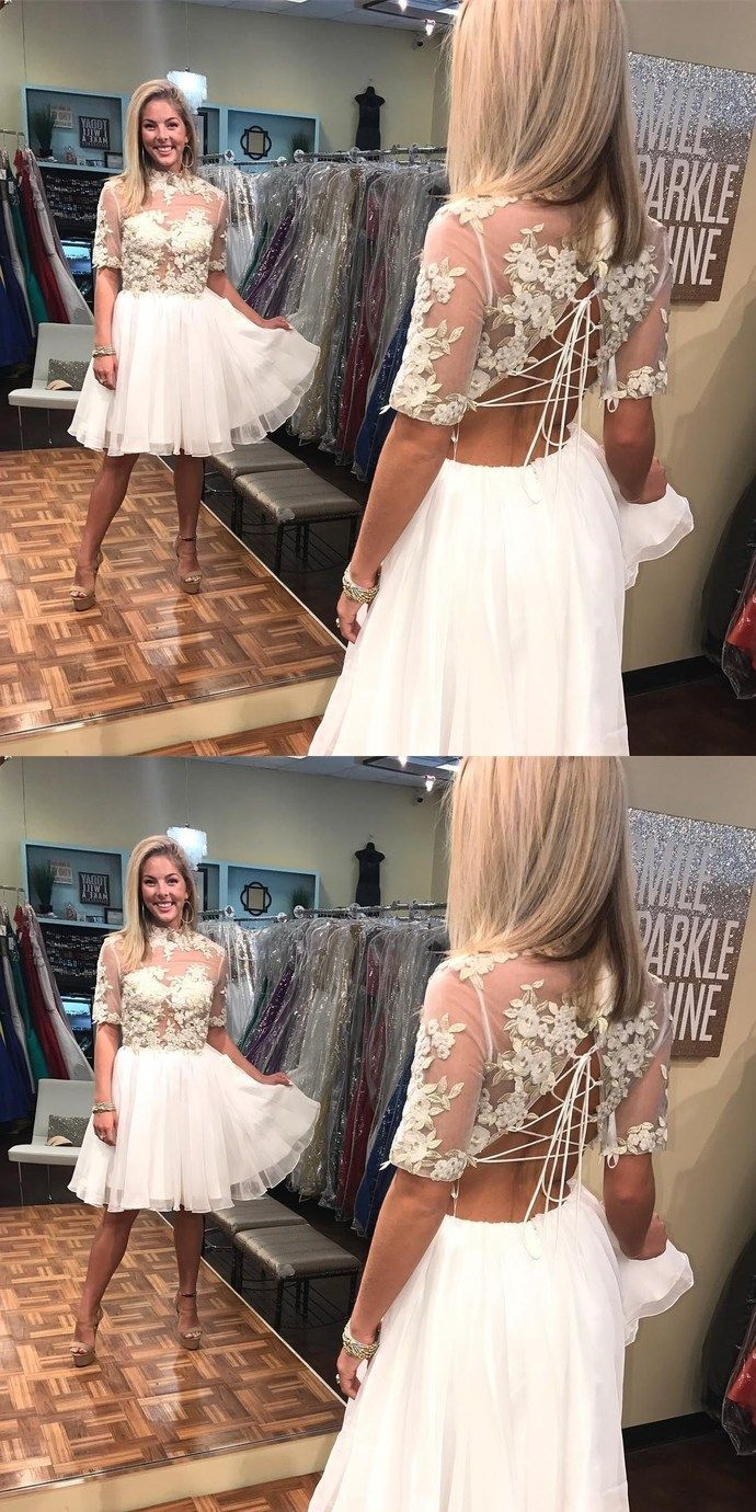 Fashion half sleeve short white homecoming dress with applique