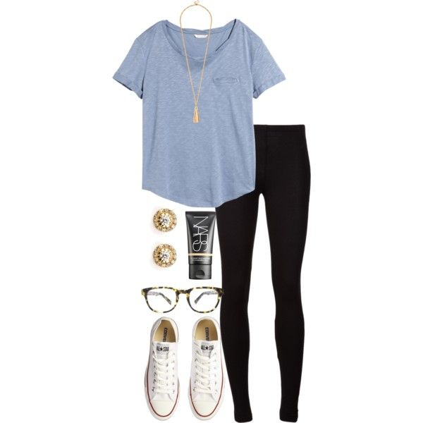 A fashion look from July 2015 featuring H&M t-shirts, Splendid leggings and Converse sneakers. Browse and shop related looks.