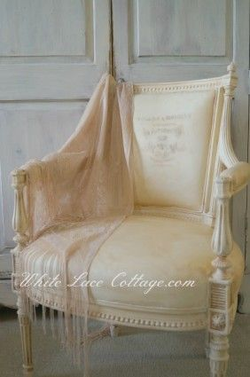 I just love this chair!!   Interview with White Lace Cottage www.cedarhillfarmhouse.com