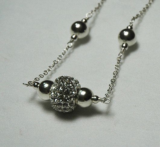 Crystal Ball Necklace Pave Crystal Necklace Wheel by KwaiJewellery, $40.00