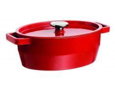 Pyrex SlowCook Cocotte ovale rouge en fonte d'acier - cuisson four et tous feux dont induction - 29 cm
